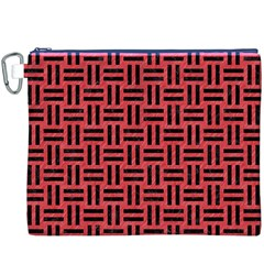 Woven1 Black Marble & Red Colored Pencil Canvas Cosmetic Bag (xxxl) by trendistuff