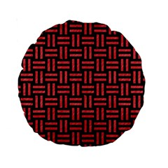 Woven1 Black Marble & Red Colored Pencil (r) Standard 15  Premium Round Cushions by trendistuff
