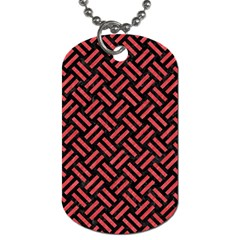 Woven2 Black Marble & Red Colored Pencil (r) Dog Tag (one Side) by trendistuff