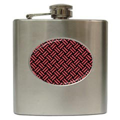 Woven2 Black Marble & Red Colored Pencil (r) Hip Flask (6 Oz) by trendistuff