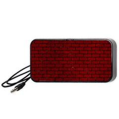 Brick1 Black Marble & Red Grunge Portable Speaker by trendistuff