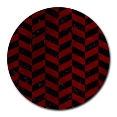 Chevron1 Black Marble & Red Grunge Round Mousepads by trendistuff