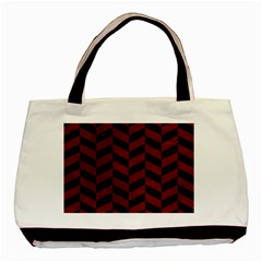 Chevron1 Black Marble & Red Grunge Basic Tote Bag by trendistuff