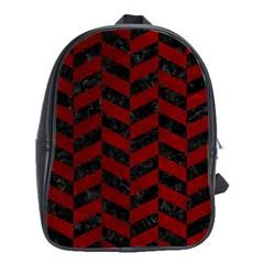 Chevron1 Black Marble & Red Grunge School Bag (xl) by trendistuff
