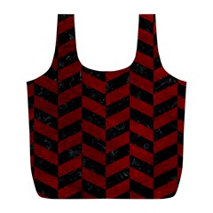 Chevron1 Black Marble & Red Grunge Full Print Recycle Bags (l)  by trendistuff
