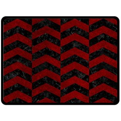 Chevron2 Black Marble & Red Grunge Double Sided Fleece Blanket (large)  by trendistuff