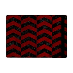 Chevron2 Black Marble & Red Grunge Ipad Mini 2 Flip Cases by trendistuff