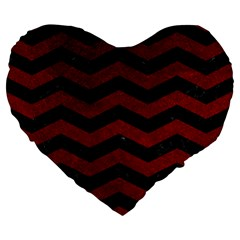 Chevron3 Black Marble & Red Grunge Large 19  Premium Heart Shape Cushions by trendistuff