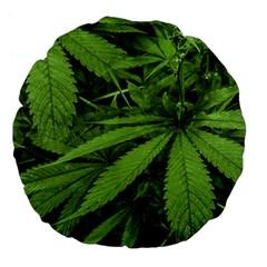 Marijuana Plants Pattern Large 18  Premium Flano Round Cushions by dflcprints