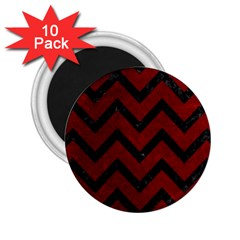 Chevron9 Black Marble & Red Grunge 2 25  Magnets (10 Pack)  by trendistuff
