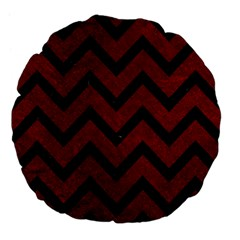 Chevron9 Black Marble & Red Grunge Large 18  Premium Flano Round Cushions by trendistuff