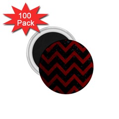 Chevron9 Black Marble & Red Grunge (r) 1 75  Magnets (100 Pack)  by trendistuff