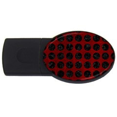 Circles1 Black Marble & Red Grunge Usb Flash Drive Oval (4 Gb) by trendistuff
