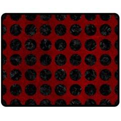 Circles1 Black Marble & Red Grunge Double Sided Fleece Blanket (medium)  by trendistuff