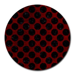 Circles2 Black Marble & Red Grunge Round Mousepads by trendistuff