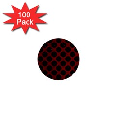 Circles2 Black Marble & Red Grunge 1  Mini Buttons (100 Pack)  by trendistuff