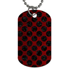 Circles2 Black Marble & Red Grunge Dog Tag (two Sides) by trendistuff