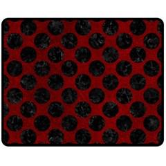 Circles2 Black Marble & Red Grunge Double Sided Fleece Blanket (medium)  by trendistuff