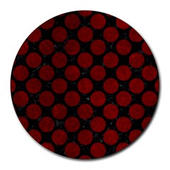 Circles2 Black Marble & Red Grunge (r) Round Mousepads by trendistuff