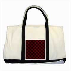 Circles2 Black Marble & Red Grunge (r) Two Tone Tote Bag by trendistuff