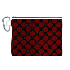 Circles2 Black Marble & Red Grunge (r) Canvas Cosmetic Bag (l) by trendistuff