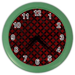 Circles3 Black Marble & Red Grunge Color Wall Clocks by trendistuff