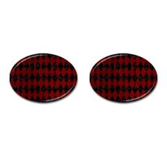 Diamond1 Black Marble & Red Grunge Cufflinks (oval) by trendistuff
