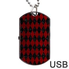 Diamond1 Black Marble & Red Grunge Dog Tag Usb Flash (one Side) by trendistuff