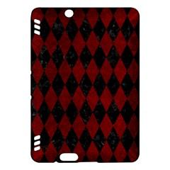 Diamond1 Black Marble & Red Grunge Kindle Fire Hdx Hardshell Case by trendistuff