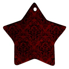 Damask1 Black Marble & Red Grunge Star Ornament (two Sides) by trendistuff