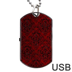 Damask1 Black Marble & Red Grunge Dog Tag Usb Flash (one Side) by trendistuff