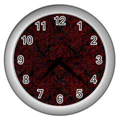 Damask1 Black Marble & Red Grunge (r) Wall Clocks (silver)  by trendistuff