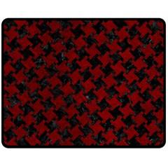 Houndstooth2 Black Marble & Red Grunge Double Sided Fleece Blanket (medium)  by trendistuff
