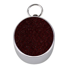 Hexagon1 Black Marble & Red Grunge (r) Mini Silver Compasses by trendistuff