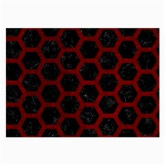 Hexagon2 Black Marble & Red Grunge (r) Large Glasses Cloth (2 Side) by trendistuff