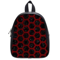Hexagon2 Black Marble & Red Grunge (r) School Bag (small) by trendistuff