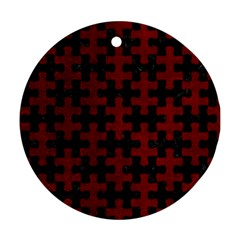 Puzzle1 Black Marble & Red Grunge Ornament (round) by trendistuff