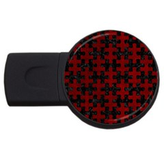 Puzzle1 Black Marble & Red Grunge Usb Flash Drive Round (4 Gb) by trendistuff