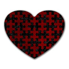 Puzzle1 Black Marble & Red Grunge Heart Mousepads by trendistuff