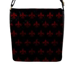 Royal1 Black Marble & Red Grunge Flap Messenger Bag (l)  by trendistuff
