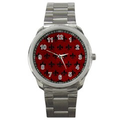 Royal1 Black Marble & Red Grunge (r) Sport Metal Watch by trendistuff