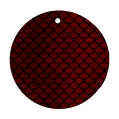 Scales1 Black Marble & Red Grunge Round Ornament (two Sides) by trendistuff