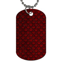 Scales2 Black Marble & Red Grunge Dog Tag (one Side) by trendistuff