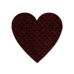 Scales2 Black Marble & Red Grunge (r) Heart Magnet by trendistuff