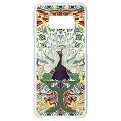 Art Nouveau Peacock Samsung Galaxy S8 White Seamless Case by 8fugoso