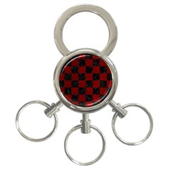 Square1 Black Marble & Red Grunge 3 Ring Key Chains by trendistuff