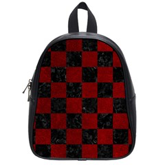 Square1 Black Marble & Red Grunge School Bag (small) by trendistuff