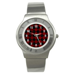 Square2 Black Marble & Red Grunge Stainless Steel Watch by trendistuff