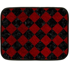 Square2 Black Marble & Red Grunge Double Sided Fleece Blanket (mini)  by trendistuff