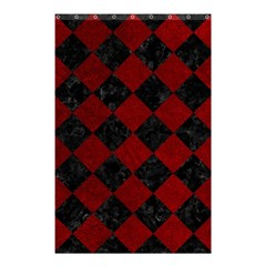 Square2 Black Marble & Red Grunge Shower Curtain 48  X 72  (small)  by trendistuff